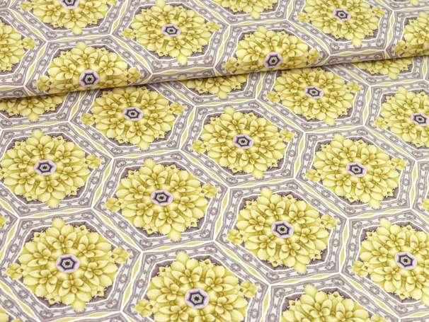 Baumwolle Stoff - Light Breeze - Blumenfliese - gelb