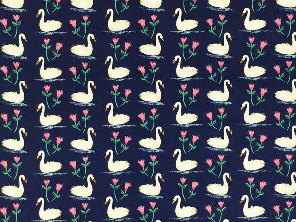 Baumwolle Stoff - Swans A Swimming