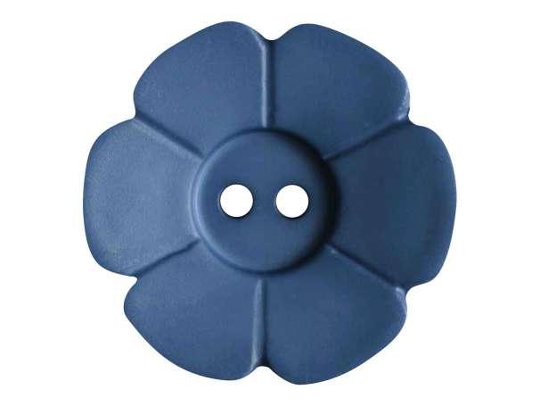Knopf Blümchen 28mm - jeansblau