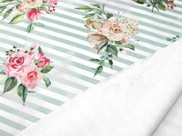 French Terry - Vintage Rose & Stripes - Blassgrün