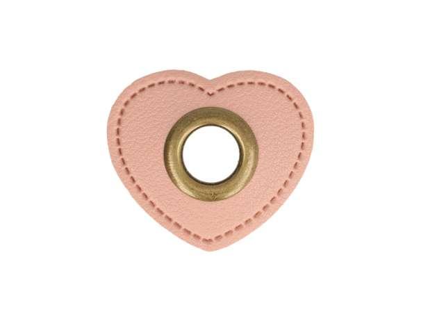1 Kunstleder-Herz mit Öse - 8 mm - rosa/bronze