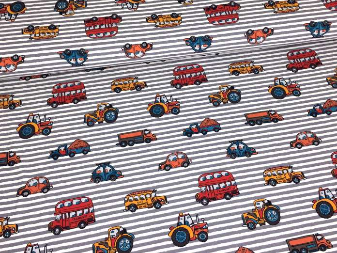 Jersey Stoff grau - Streifen & Autos