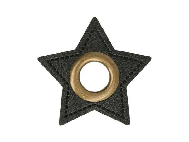 1 Kunstleder-Stern mit Öse - 11 mm - schwarz-bronze