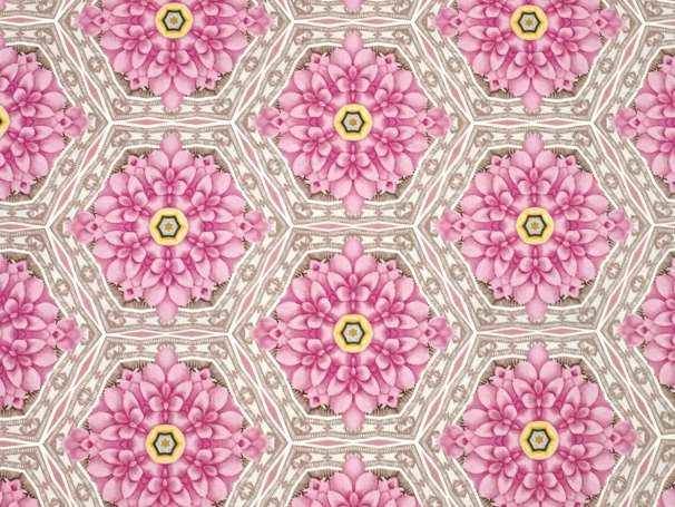 Baumwolle Stoff - Light Breeze - Blumenfliese - rosa