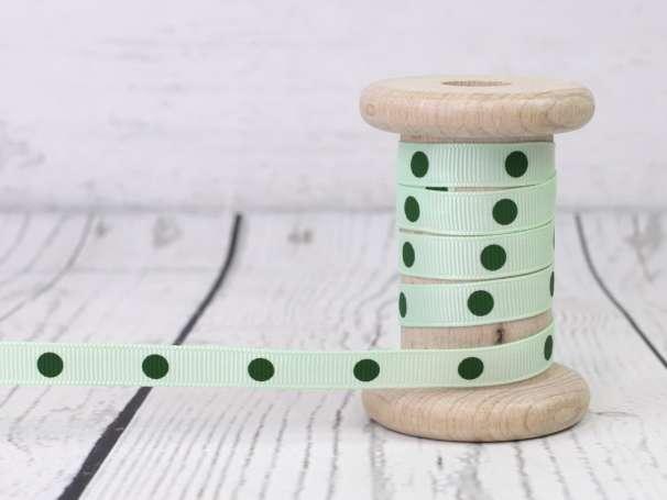 Ripsband - Punkte - mint-dunkelgrün