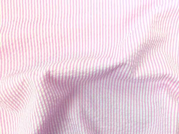 Seersucker - Streifen - rosa