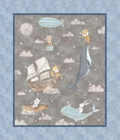 Baumwolle Stoff - PANEL - Adventures in the Sky