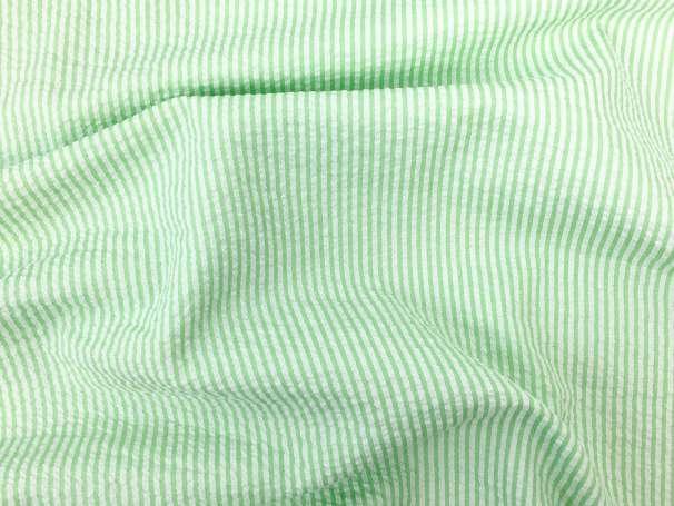 Seersucker - Streifen - hellgrün