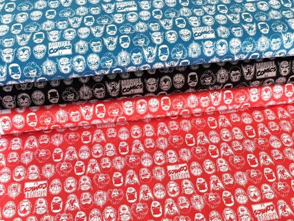 Baumwolle Stoff - Marvel Character Heads - verschiedene Farben
