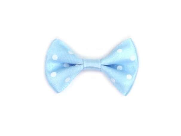 Satinschleife mit Punkten - hellblau