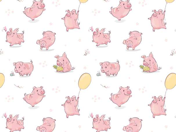 Jersey Stoff - Happy Piggy