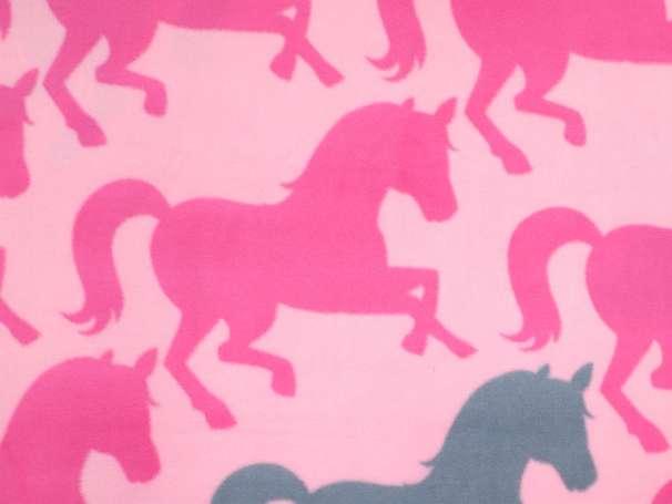 Fleece - David Textiles - Pretty Horses - pink