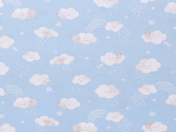 Jersey Stoff - Little Spring - Wolken hellblau