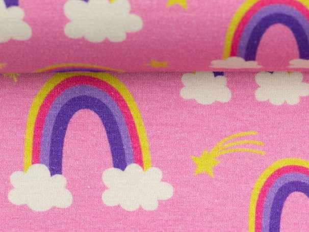 Jersey Stoff - Prinzessin Phantasie - Regenbogen, rosa