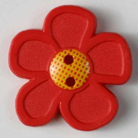 Knopf Blume 20mm - rot