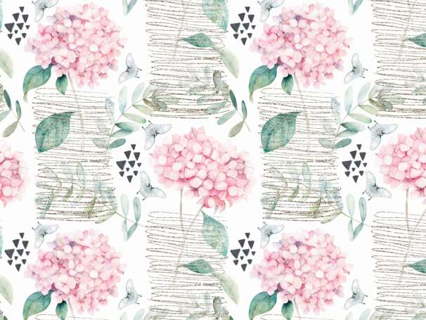 Jersey Stoff - Hortensien & Schmetterlinge