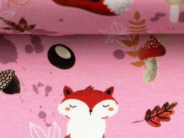 Jersey Stoff - My Little Foxy - Füchse, rosa