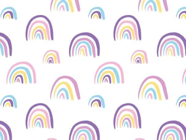 Jersey Stoff - Doodle Rainbows - lila-gelb