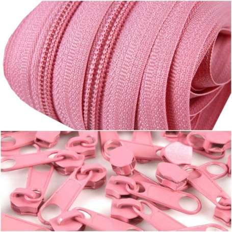 2m Endlos-Reißverschluss + 5 Zipper - breit rosa