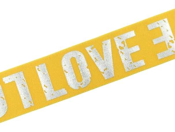 Gummiband - LOVE - 4cm - gelb