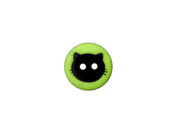 Knopf - 12 mm - Katzenkopf, grün