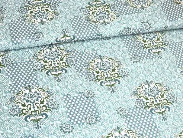 Baumwolle Stoff - Ring a Roses - Ornament, mint-grün