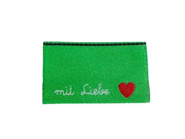 Webetikett Label - handgemacht mit Liebe, grün