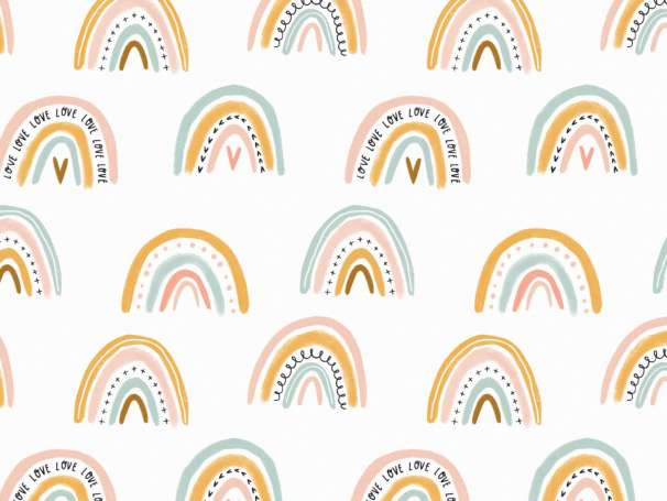 Jersey Stoff - Rainbow Love
