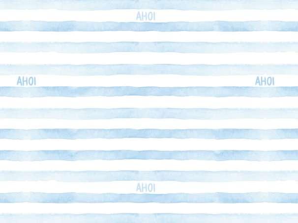 Jersey Stoff - Watercolor Stripes AHOI - hellblau