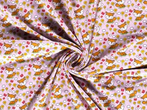 Jersey Stoff - Fuchs im Blumenfeld - rosa