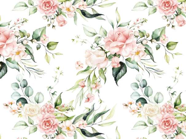 Jersey Stoff - Aquarell Eukalyptus & Blumen