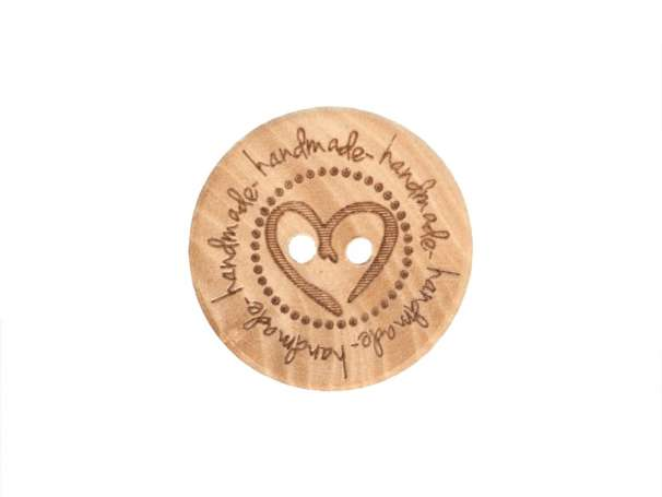 Holzknopf - 20 mm - Handmade Herz