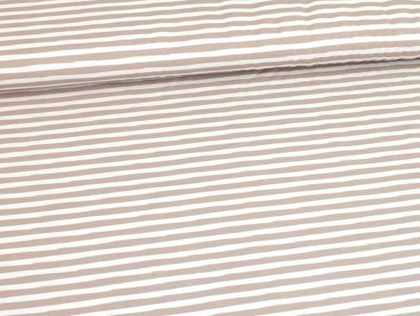 Jersey Stoff - Im Wald Kombi-Streifen - beige