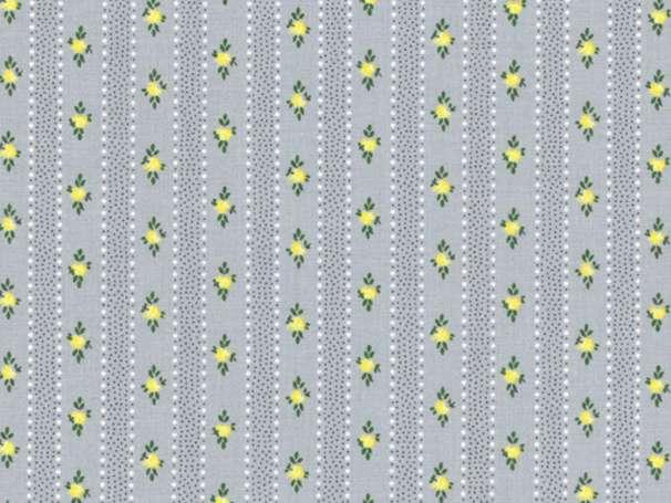 Westfalenstoffe kbA - PRINZESSIN - Blümchen Streifen, grau-gelb
