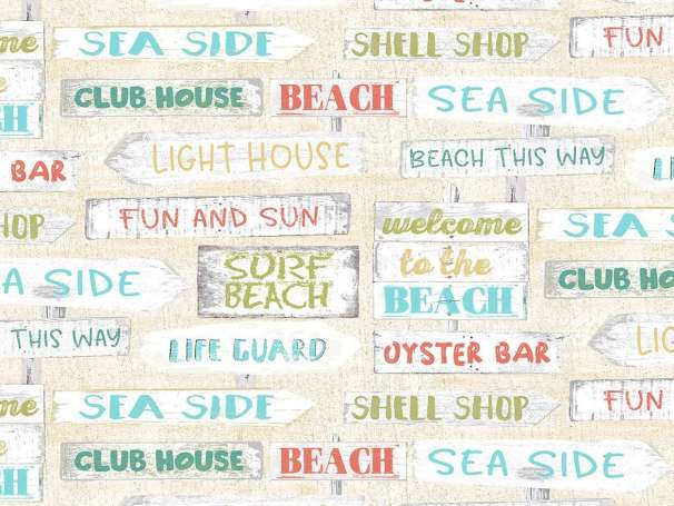 Baumwolle Stoff - Beach Travel - Signs