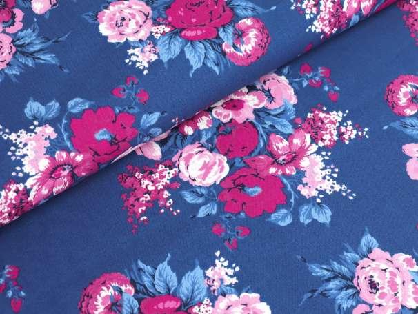 Westfalenstoffe blau - Bangkok - Blumenbouquet