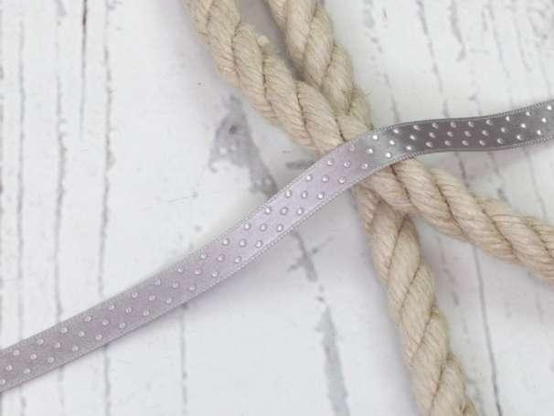 Satinband Pünktchen - 12 mm - grau,silber
