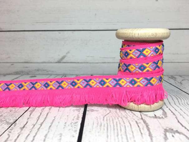 Band Indianerfransen - neonpink