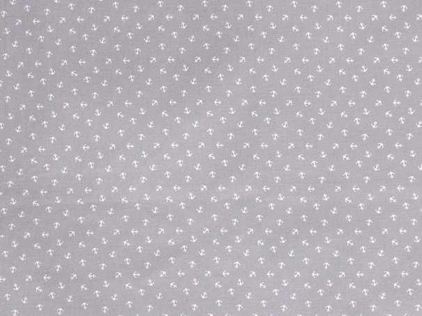 BAUMWOLLE Stoff - Tiny Anchor, grau