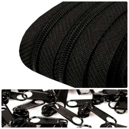2m Endlos-Reißverschluss + 5 Zipper schwarz