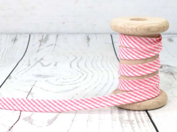 Paspelband - Streifen - rosa/weiß