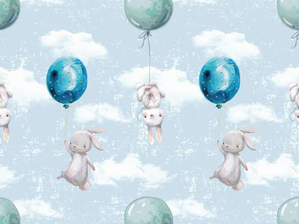 Jersey Stoff - Luftballon & Hasen - hellblau