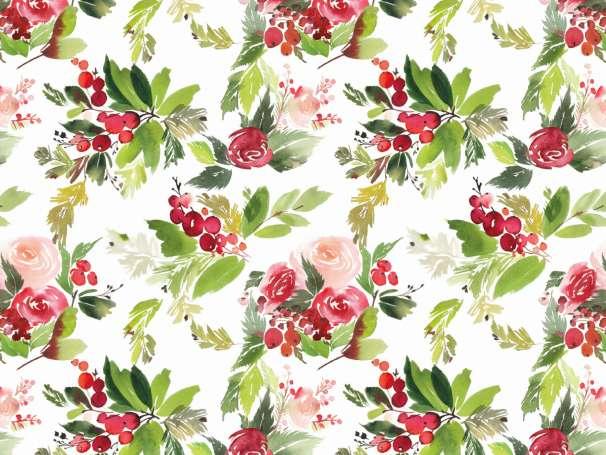 French Terry - Weihnachten Blumen Bouquet - rot/grün