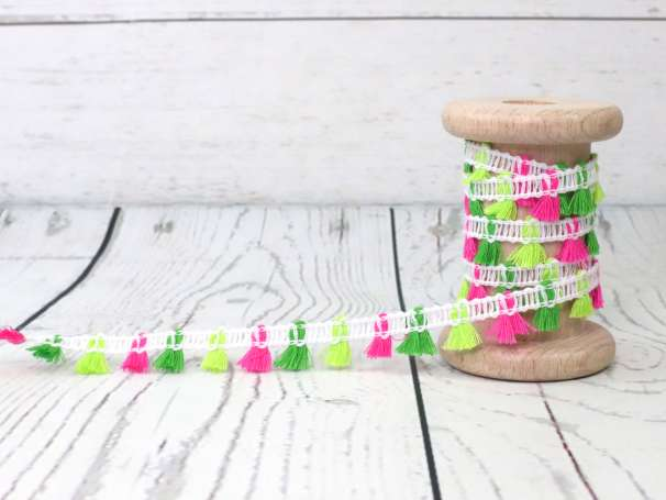 Fransen - Dekoband - 15mm - neon pinkgelbgrün