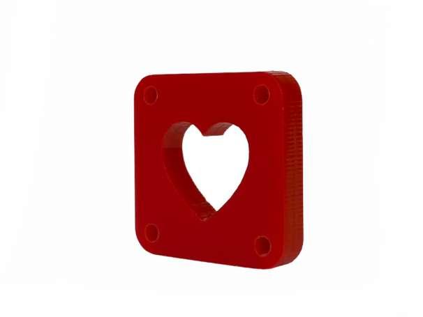 Label zum Annähen - Herz - rot