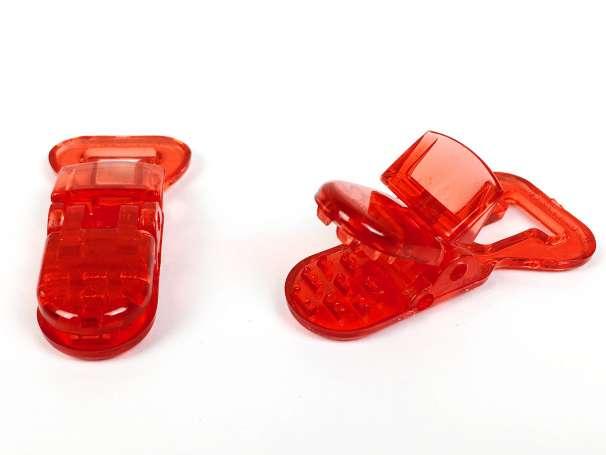 Schnullerclip rot - transparent