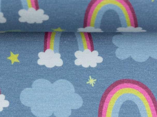 Jersey Stoff - Prinzessin Phantasie - Regenbogen, rauchblau