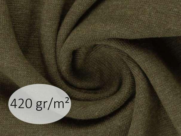 Bündchenstoff - ANTJE 420 gr. - khaki meliert