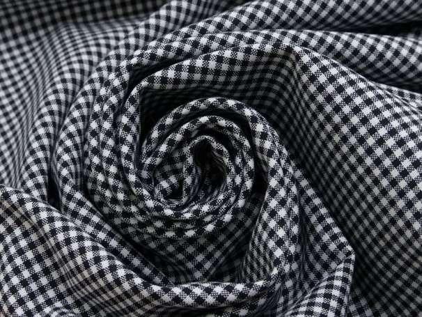 Baumwolle Stoff schwarz/weiß - Klein Kariert