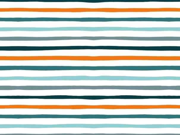 Jersey Stoff - Doodle Stripes - petrol-orange